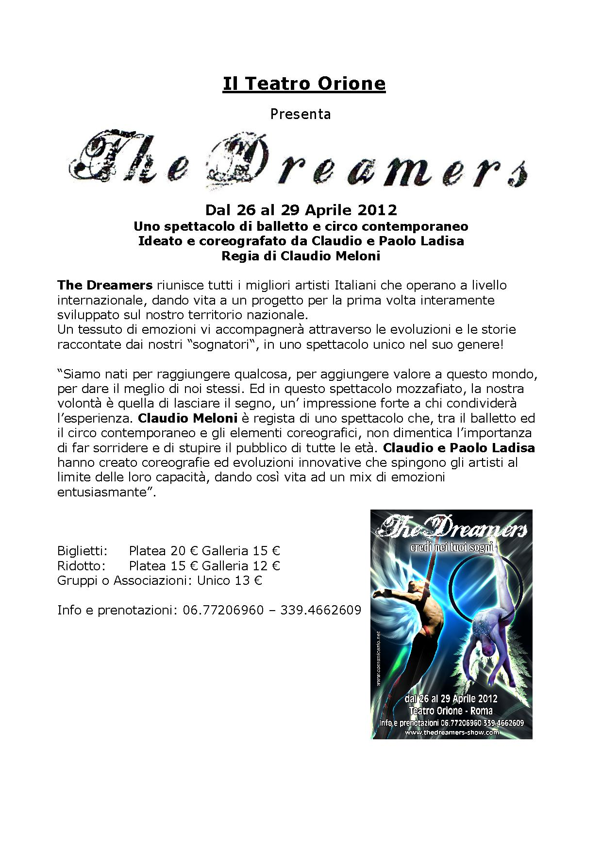 The Dreamers, spettacolo di balletto e circo contemporaneo al Teatro ... 85b96a9155